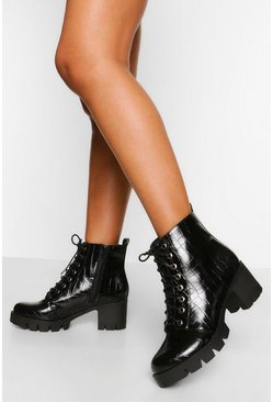 Black Wide Fit Chunky Block Heel Hiker Boot