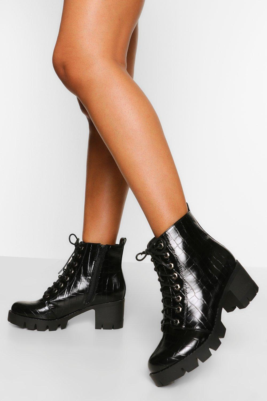 Wide Fit Lace Up Block Heel Hiker Boot | boohoo