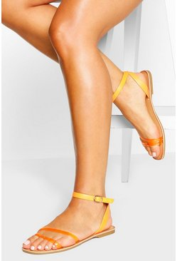 Orange Multi Strap Flat Sandal