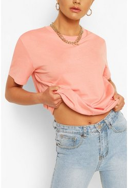 Peach orange Oversized Crew Neck T-Shirt