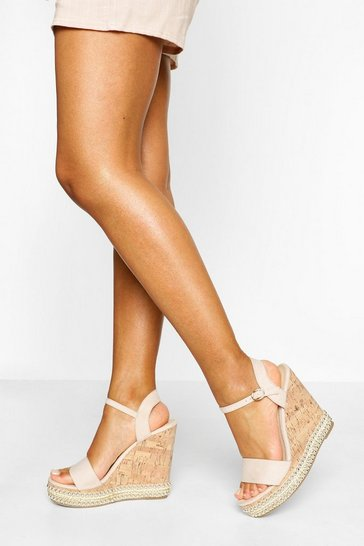 Nude 2 Part Studded Cork Wedges