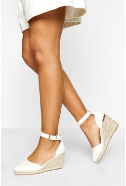 White Round Toe Wedges
