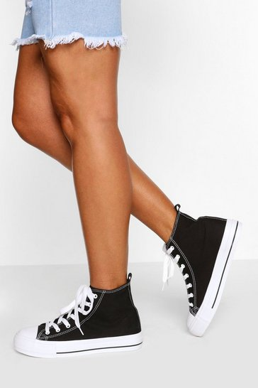 Black High Top Canvas Trainers