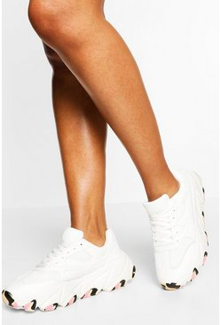 White Marble Sole Lace Up Chunky Trainers