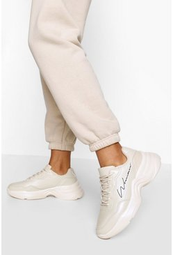 Stone beige Woman Script Chunky Trainers