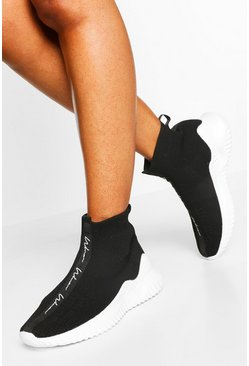 Black Woman Script Knitted Sock Trainers