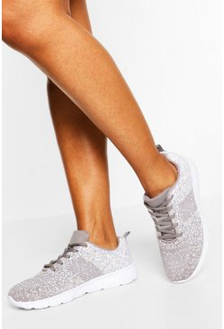 Grey Speckle Knitted Running Trainers