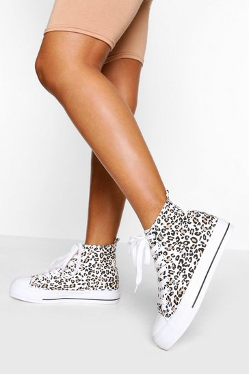 Leopard High Top Canvas Trainers