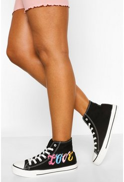 Black Love High Top Canvas Trainers