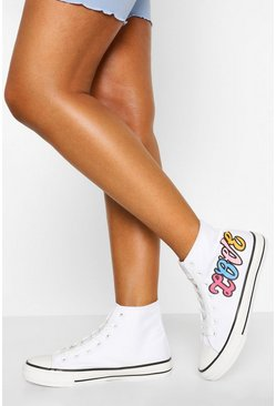 White Love High Top Canvas Trainers