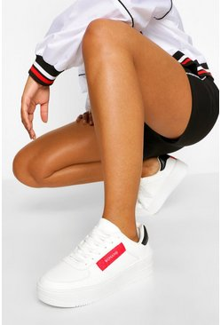 White Woman Tag Cleated Sole Chunky Trainers