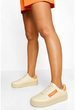 Stone beige Woman Tag Cleated Sole Chunky Trainers
