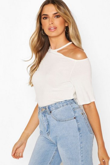 White Cut Out Shoulder Detail Tshirt