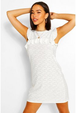 White Jersey Broderie High Neck Shift Dress