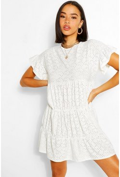 White Jersey Broderie Frill Sleeve Tiered Smock Dress