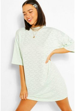 Mint green Jersey Broderie Oversized T-shirt Dress