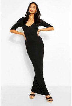 Black V Neck 3/4 Sleeve Maxi Dress