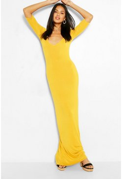 Mustard yellow V Neck 3/4 Sleeve Maxi Dress