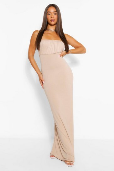 Stone Strappy Rouched Bust Maxi Dress