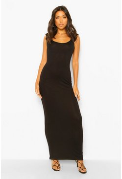 Black Cap Sleeve Scoop Neck Maxi Dress