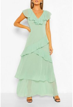 Teal green Plunge Front Ruffle Maxi Dress