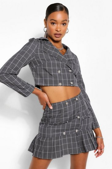 Black Check Double Breasted Blazer