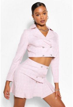 Check Blazer & Drop Hem Skirt Suit Set