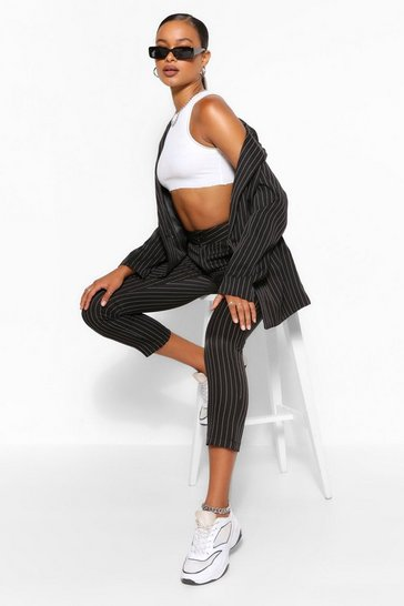 Black Tailored Pinstripe Straight Trouser