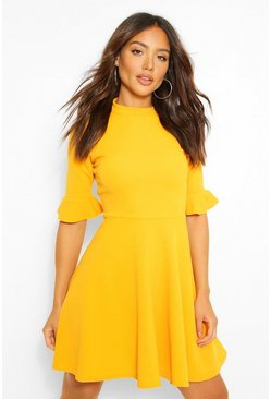 Mustard yellow Ruffle Sleeve Skater Dress