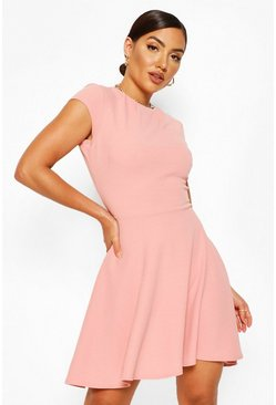 Rose pink Pleat Neckline Skater Dress