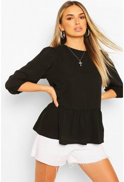 Black Woven Tie Back Smock Top