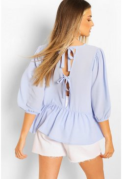 Blue Woven Tie Back Smock Top