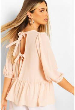 Blush Woven Tie Back Smock Top