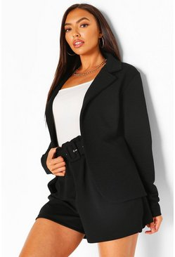 Black Tailored Rib Textured Blazer