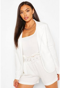 Ivory white Tailored Rib Textured Blazer