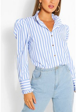 Blue Stripe Cotton Ruffle Neck Shirt