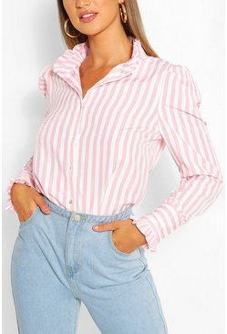Pink Stripe Cotton Ruffle Neck Shirt