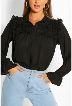 Black Ruffle Detail Blouse