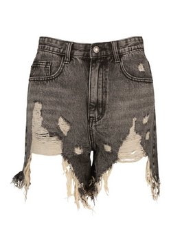 Washed black Heavily Distressed Washed Denim Short