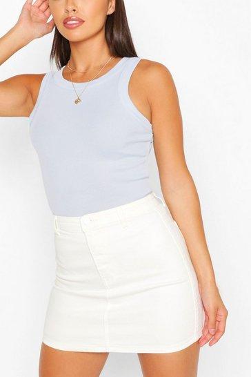 White Stretch Denim Mini Skirt