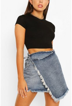 Mid blue blue Wrap Fray Hem Denim Skirt