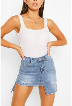 Mid blue blue Stepped Hem Ripped Denim Skirt