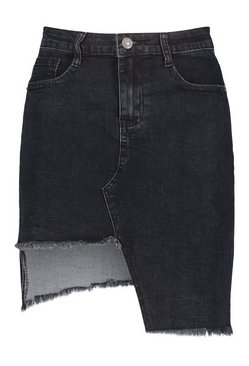 Black Stepped Hem Denim Skirt