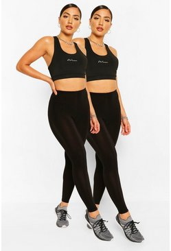 2er-Pack Booty Boost Leggings, Schwarz