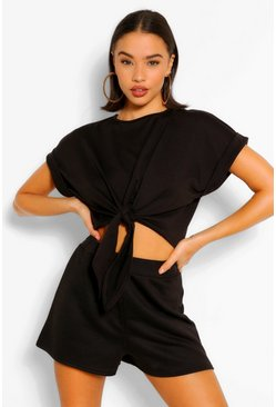 Black Soft Loopback Tie Front Top
