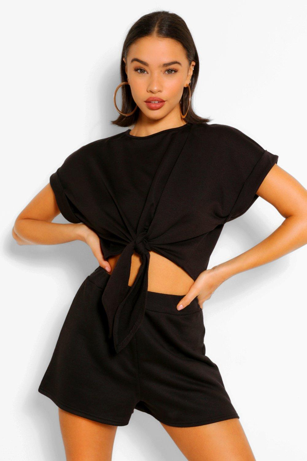 TOPS Black Soft Loopback Tie Front Top