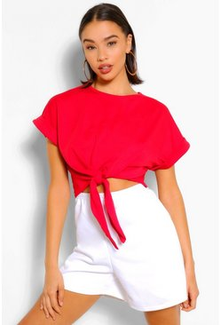Red Soft Loopback Tie Front Top
