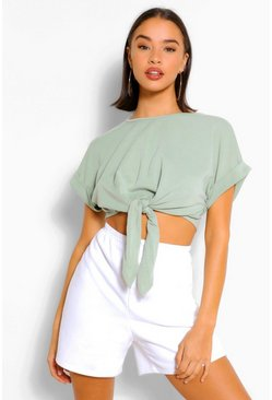 Sage Soft Loopback Tie Front Top