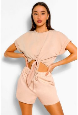 Stone Soft Loopback Tie Front Top
