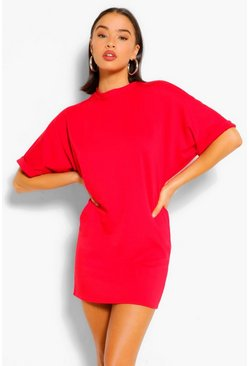 Red Soft Loopback Sweat Dress